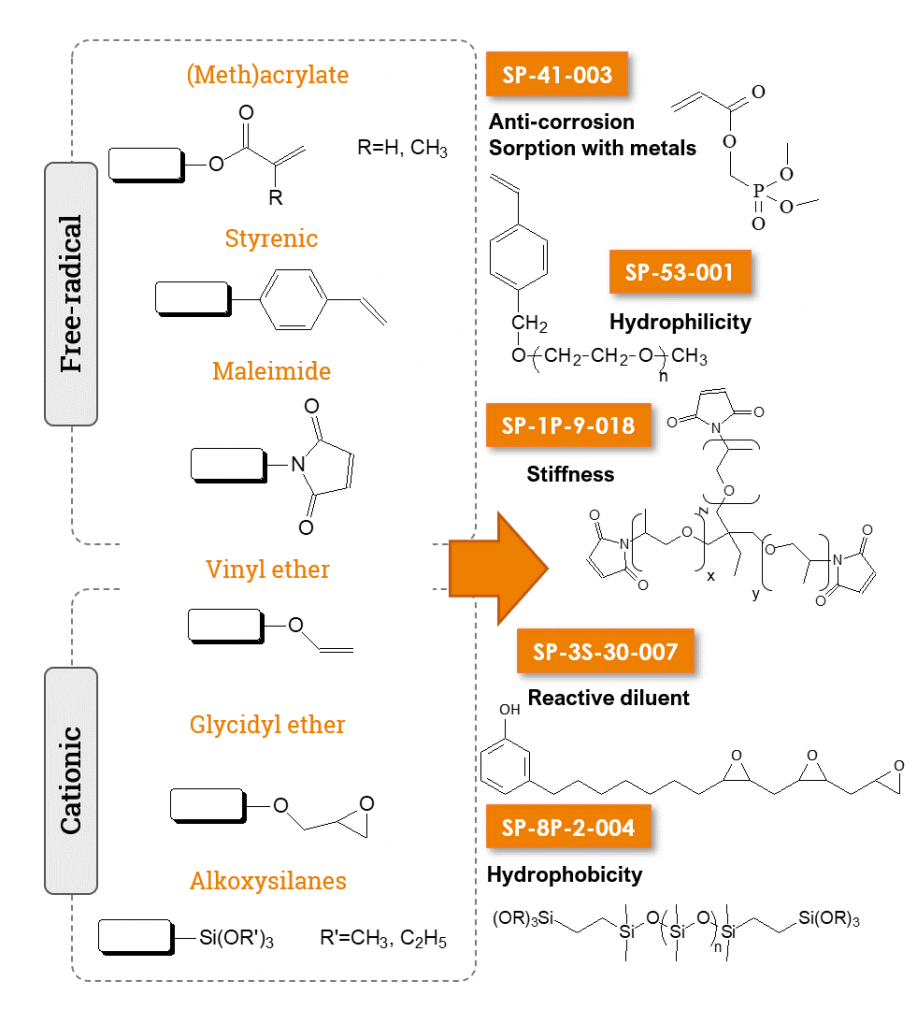 UV-reactive functions SPECIFIC POLYMERS